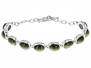 Clearance Bracelets   JTV com Green Cats Eye Quartz Sterling Silver Bracelet