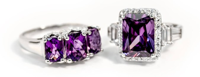 Shop 2018 Fall Jewelry Trends   JTV com Amethyst and Amethyst simulant rings