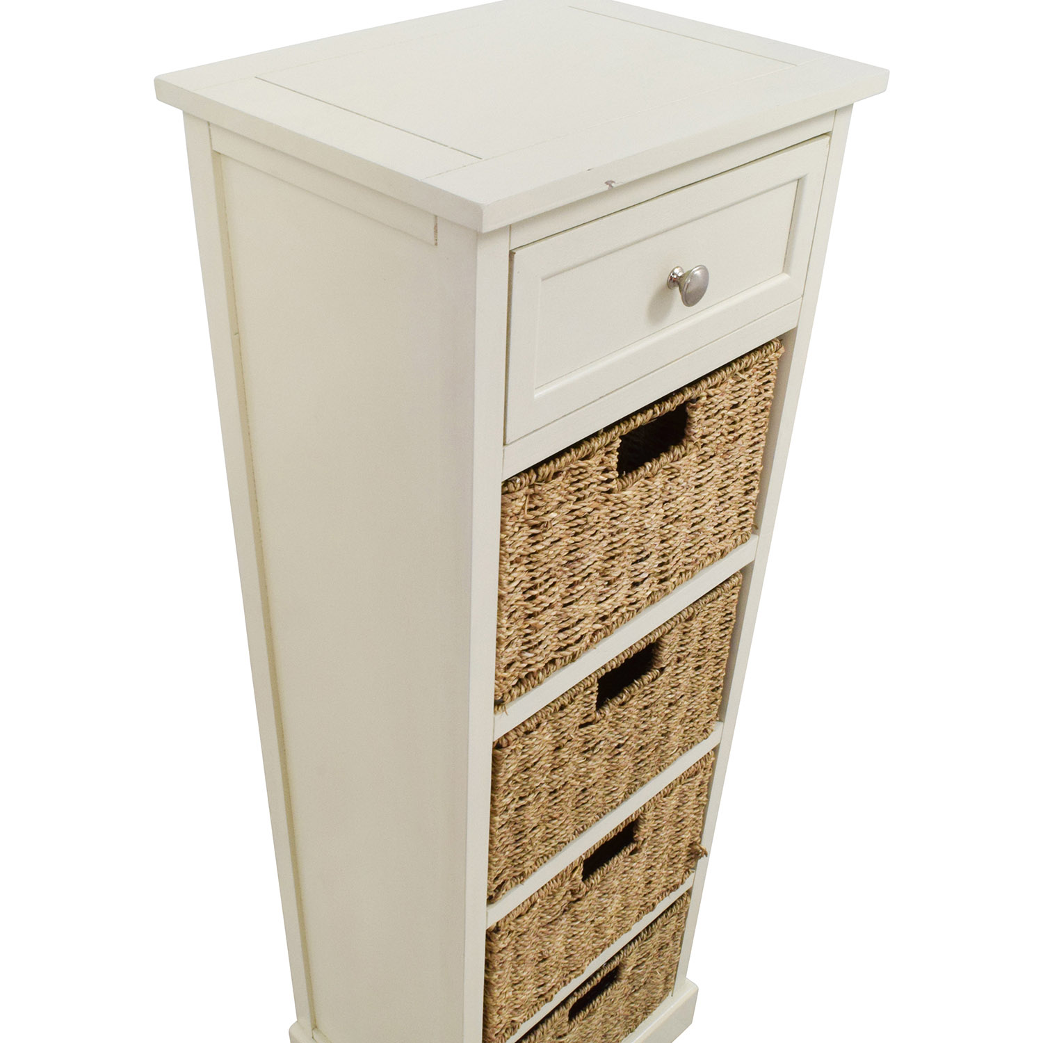28 Off Tall White Storage Unit With Drawer And Wicker Baskets Storage