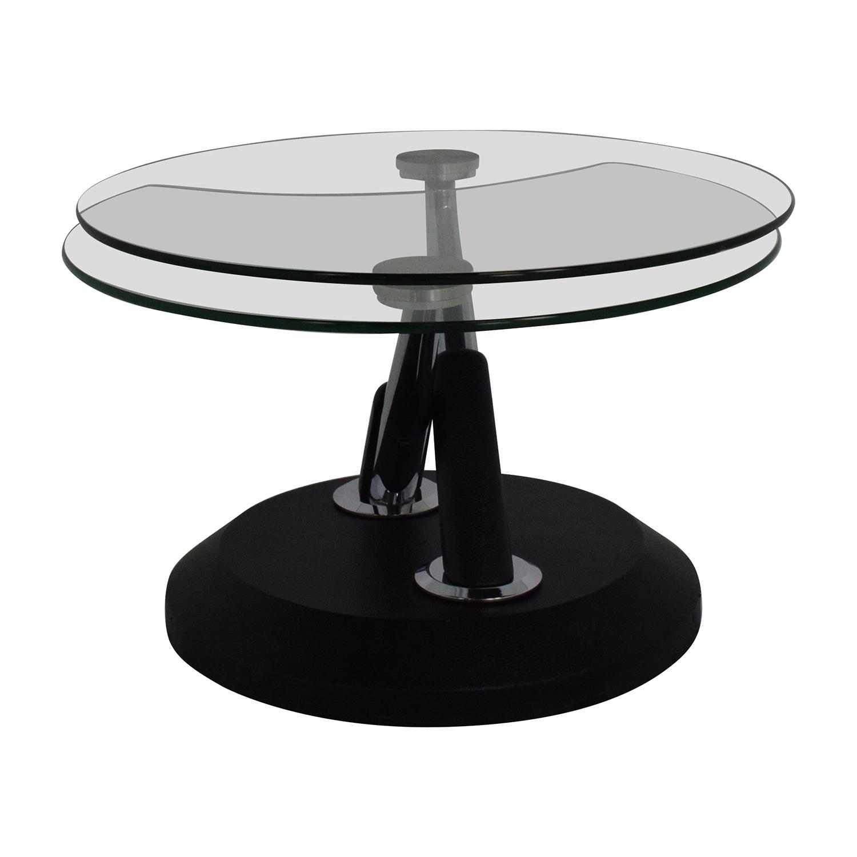 58 off raymour flanigan raymour flanigan modesto glass swivel coffee table tables