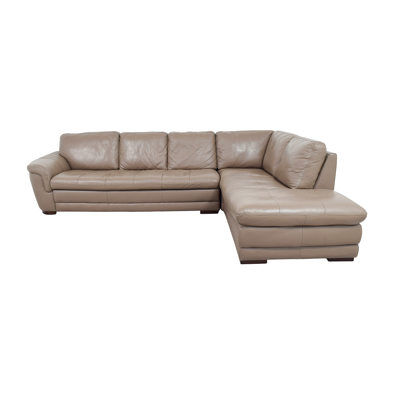 74 off raymour flanigan raymour flanigan tan tufted leather sectional sofas