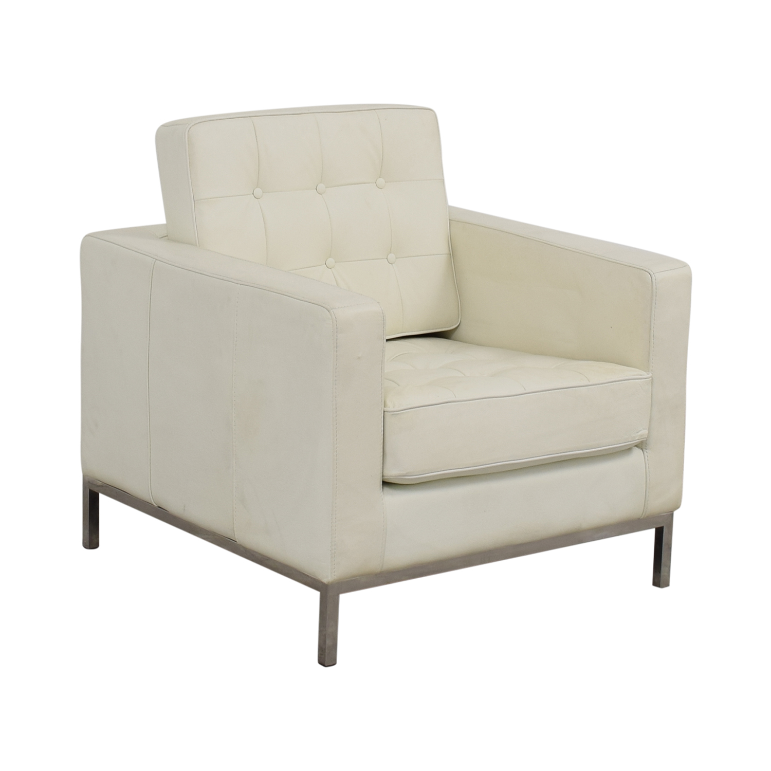 90 off white leather tufted accent armchair chairs