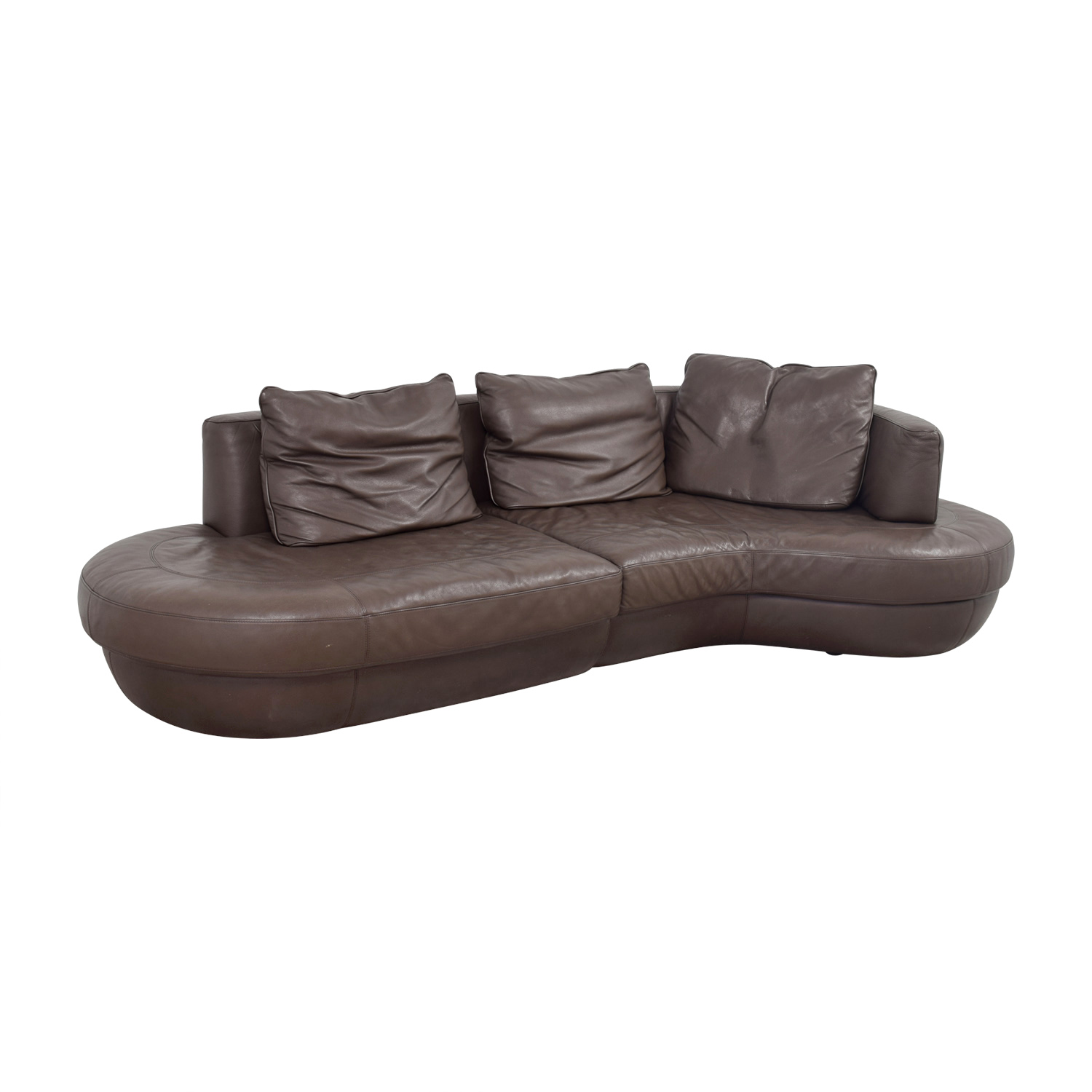 But reupholstering the sofa yourself is likely easier than you imagine. 90% OFF - Natuzzi Natuzzi Rondo Brown Leather Curved ...