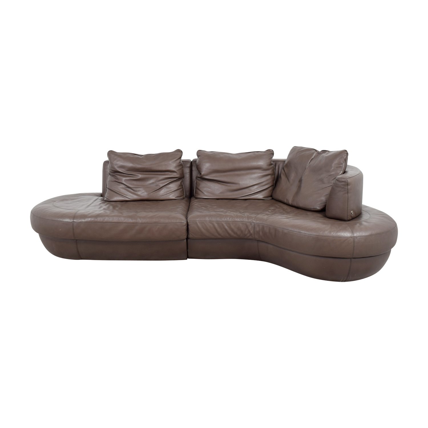 90 Off Natuzzi Natuzzi Rondo Brown Leather Curved Sectional Sofas