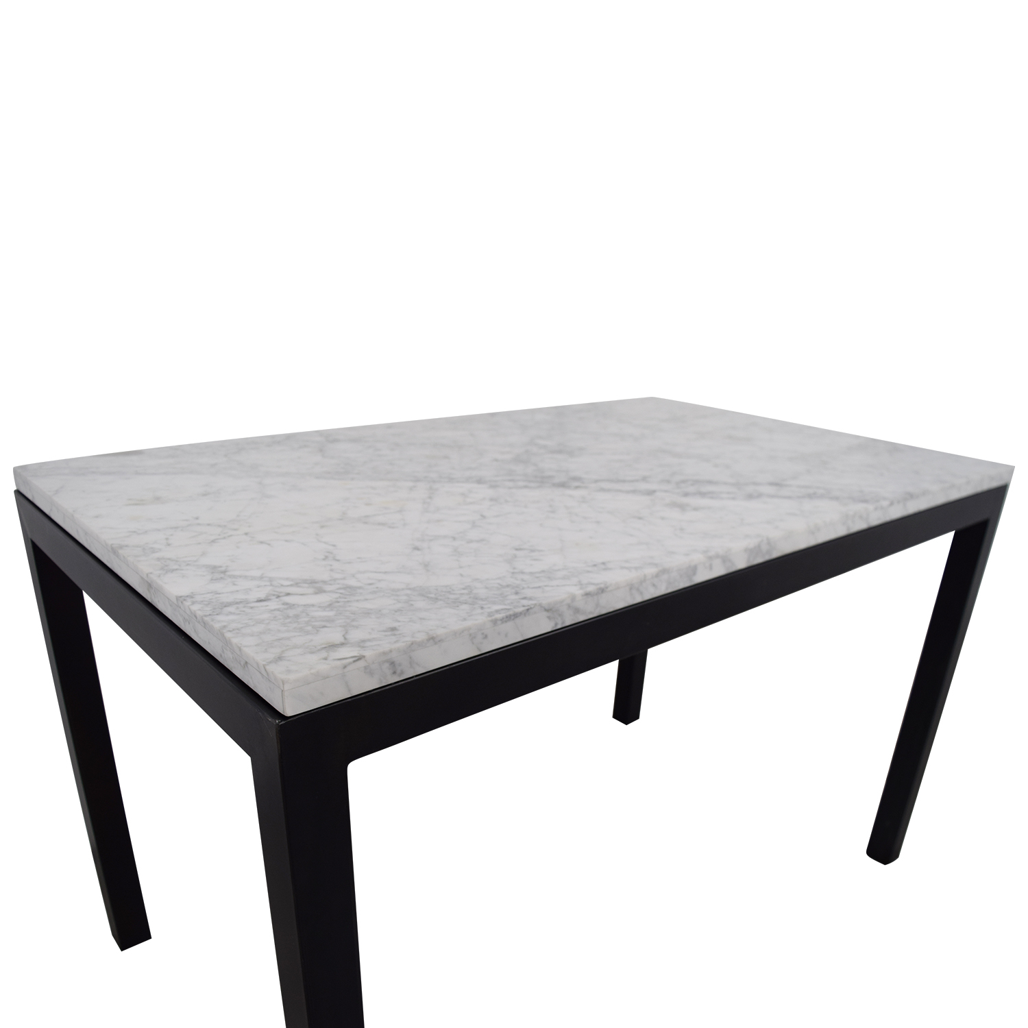 60 off crate barrel crate barrel parsons marble top steel base dining table tables