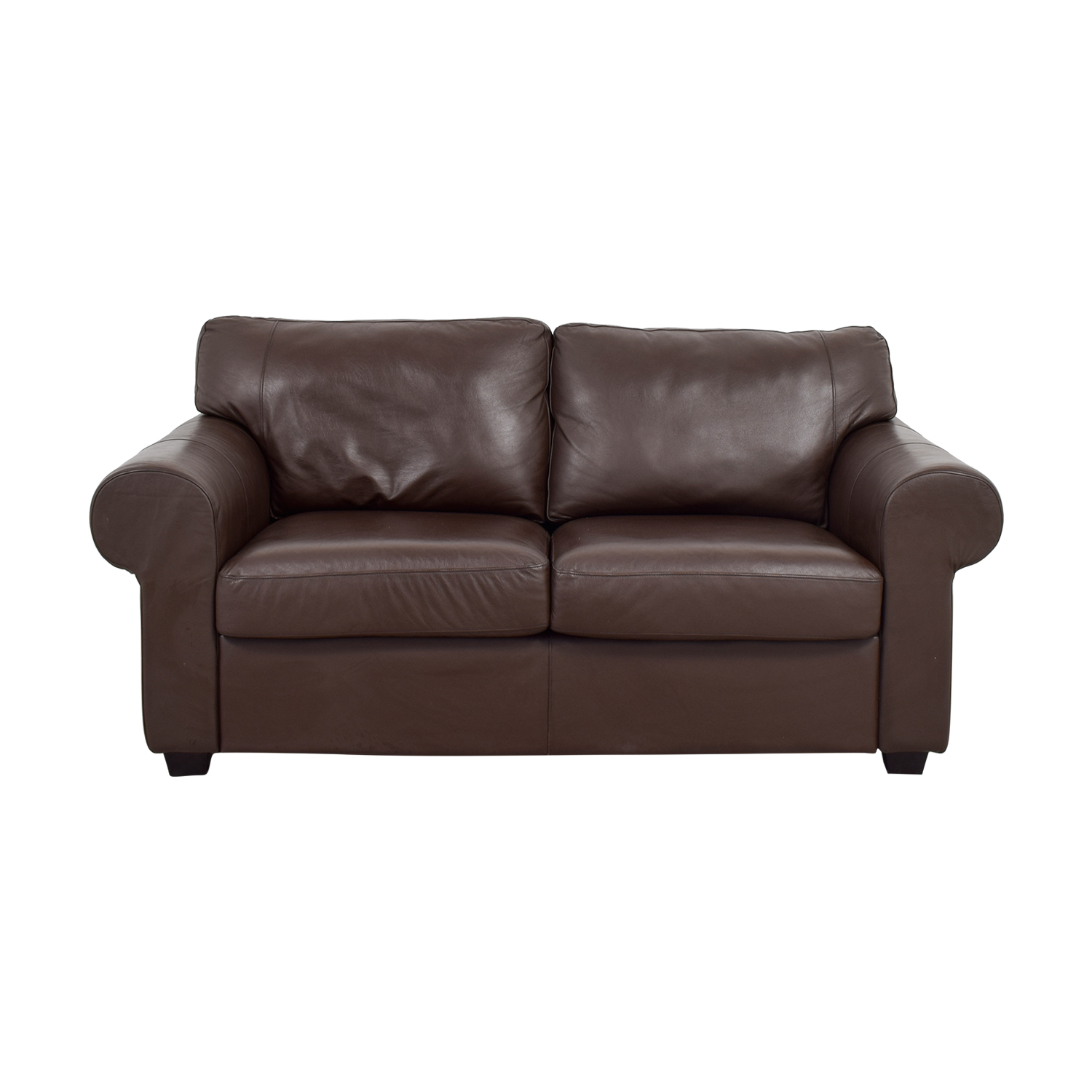 73 Off Brown Leather Curved Arm Loveseat Sofas