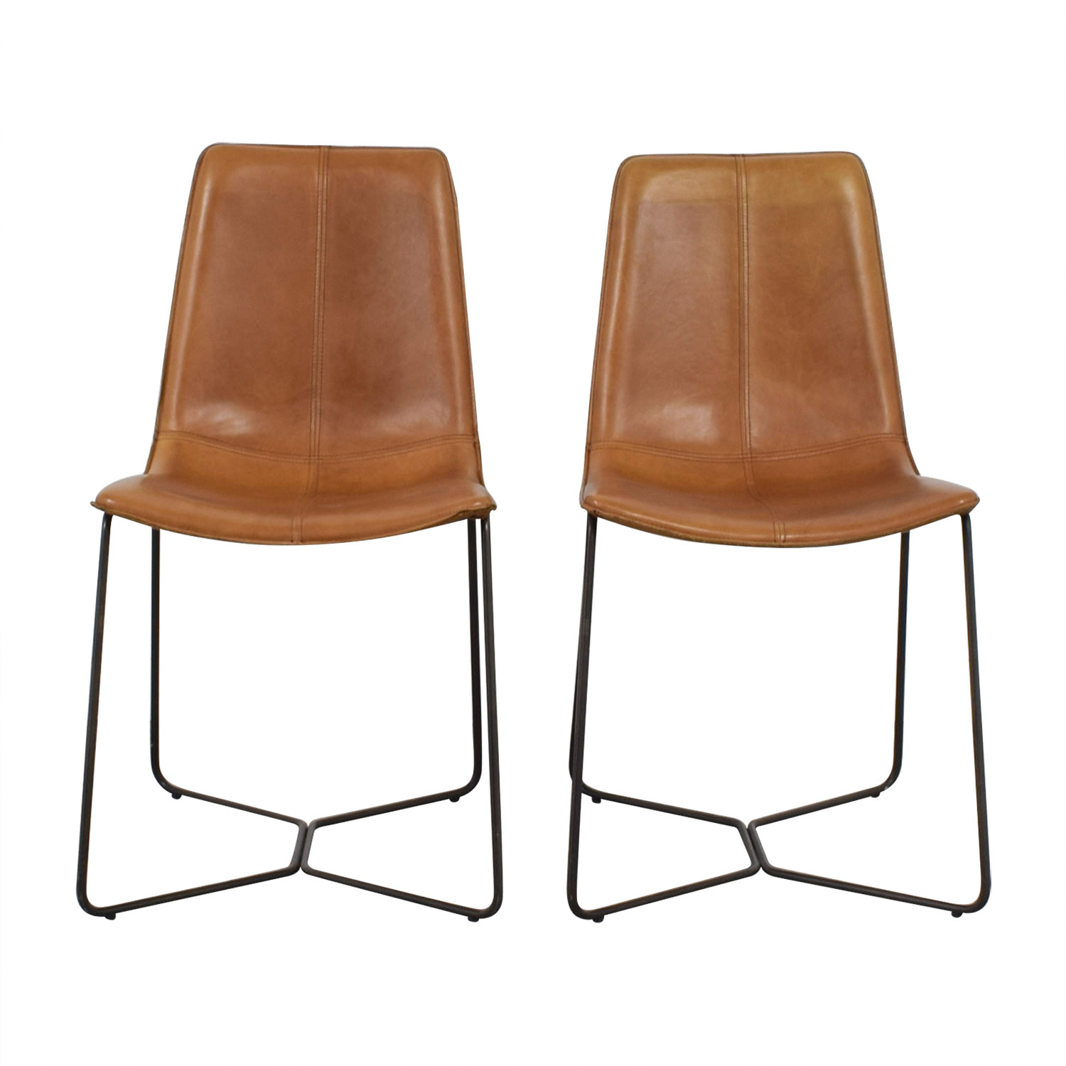 46 Off West Elm West Elm Leather Slope Dining Chairs Chairs