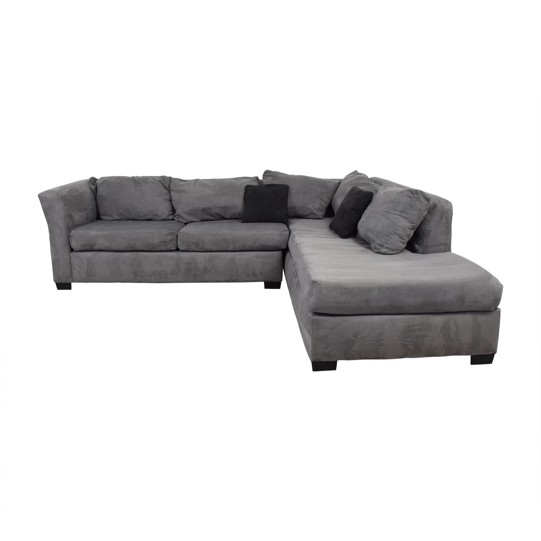 55 off custom gray microfiber l shaped sectional sofas