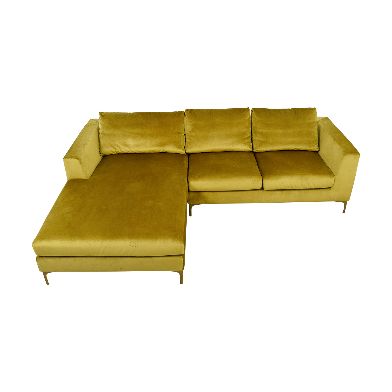 59 off asher gold velvet right chaise sectional sofas
