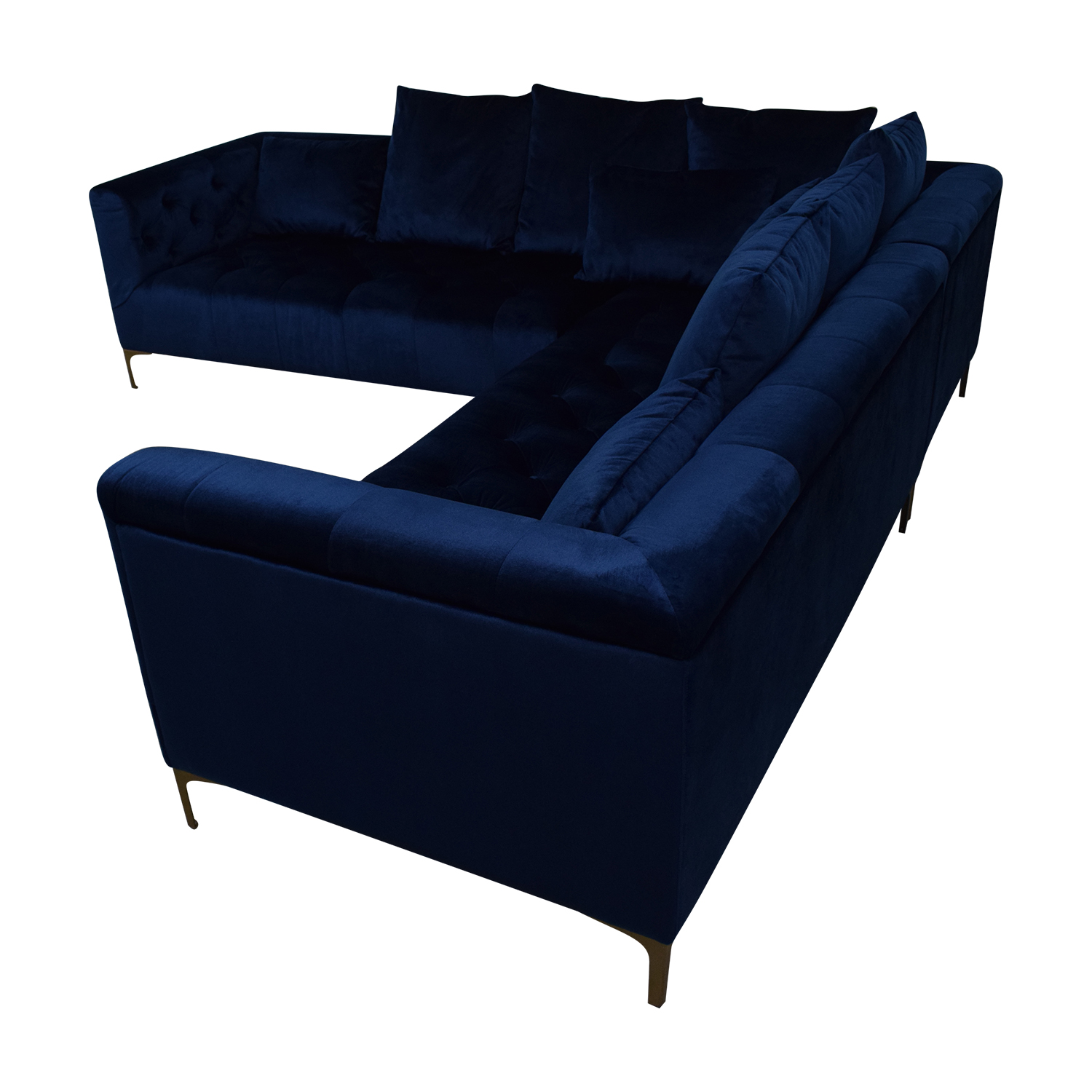 45 off ms chesterfield royal blue l shaped tufted sectional sofas