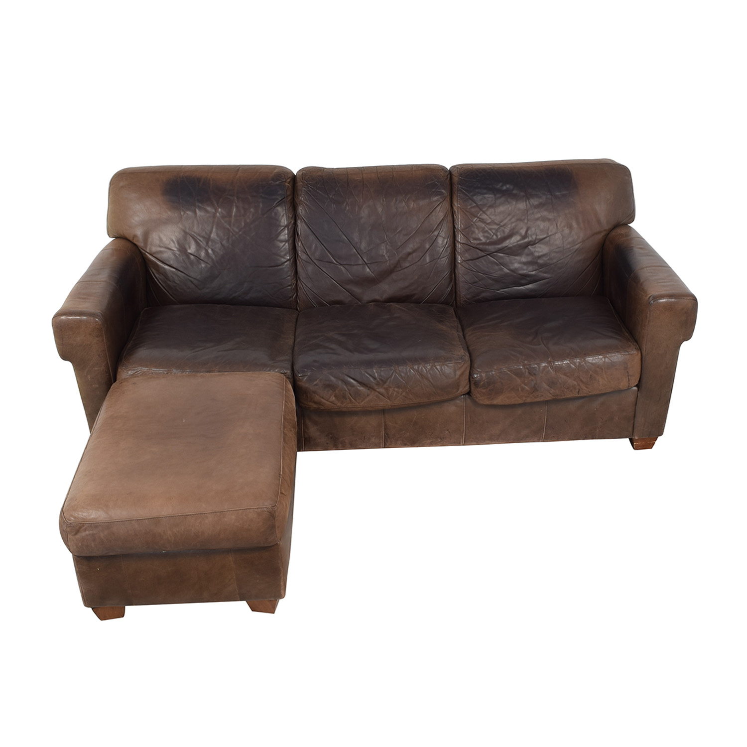 87 off distressed leather sofa with ottoman sofas