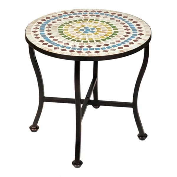colored mosaic outdoor side table