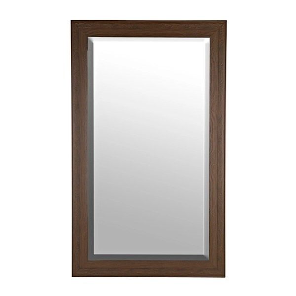 carved dark wood grain framed mirror 76x46 in