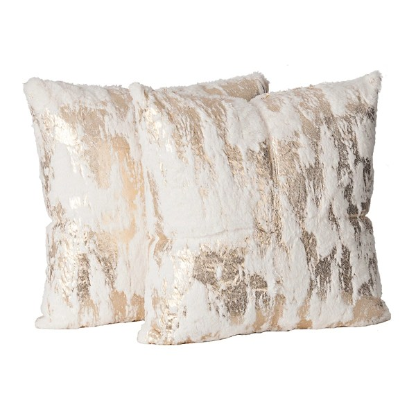 white fur pillows with gold foil set of 2