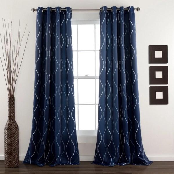navy swirl curtain panel set 84 in