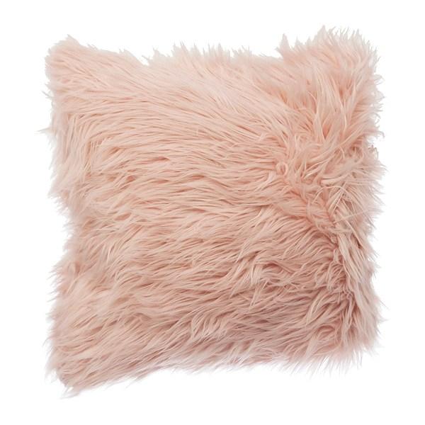 blush mongolian faux fur pillow