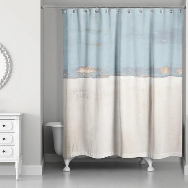 blue and cream horizon shower curtain