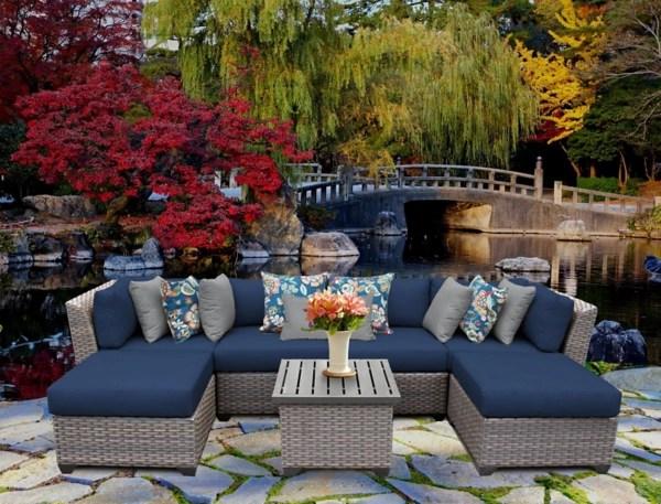 blue bali gray wicker outdoor 7 pc patio set