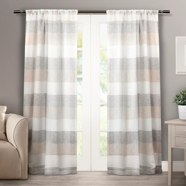 tan becky curtain panel set 84 in