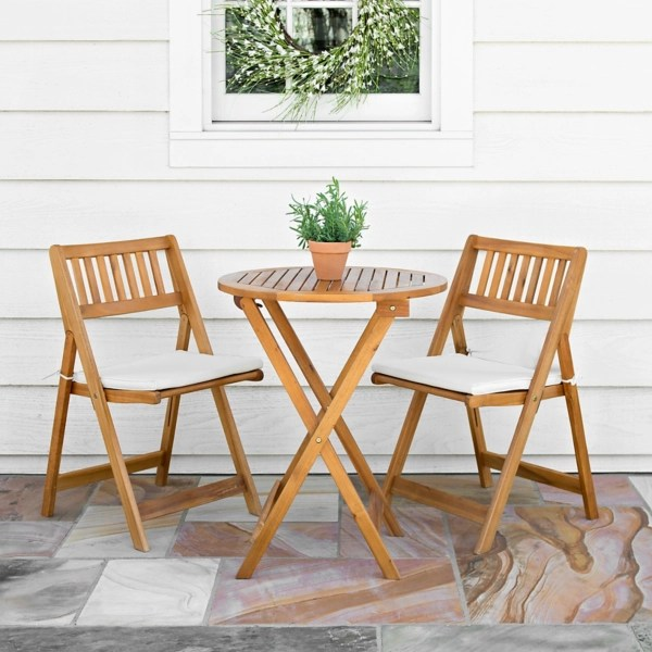 acacia wood 3 pc bistro set with cushions