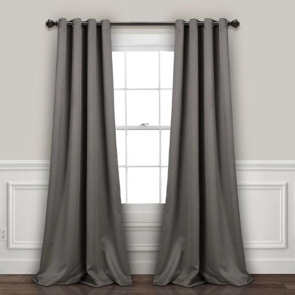 dark gray blackout curtain panel set 95 in