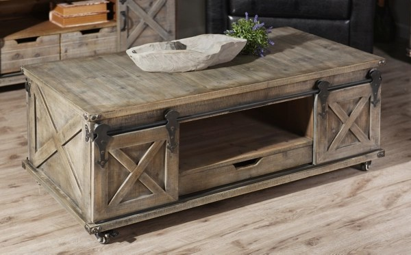 rustic gray wood rolling barn door coffee table