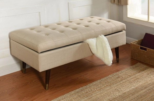 cream tufted storage bench with espresso legs