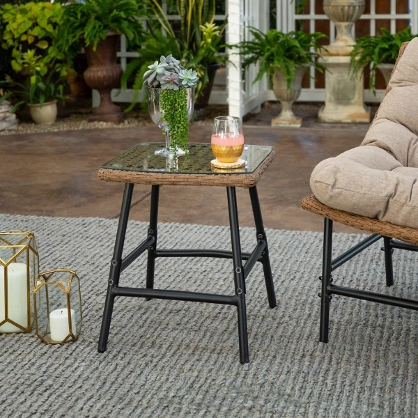 natural rattan outdoor side table with clear glass