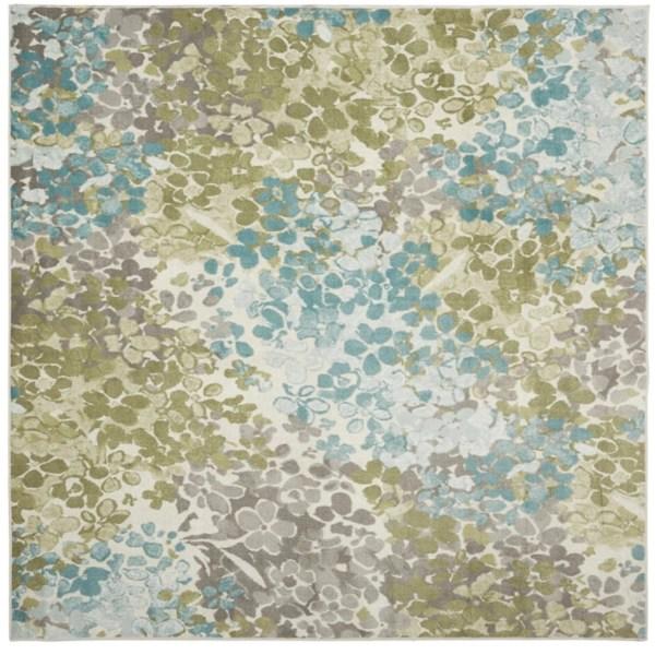 aqua and green radiance square area rug 8x8