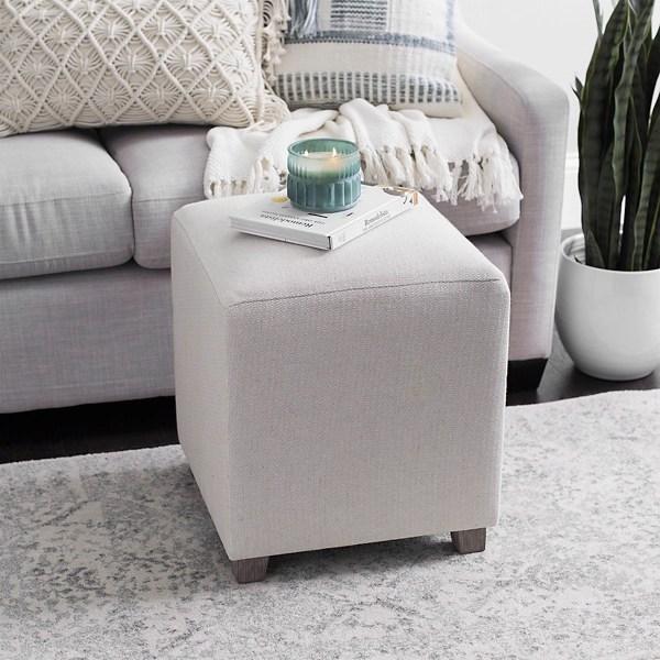 taupe textured cube ottoman
