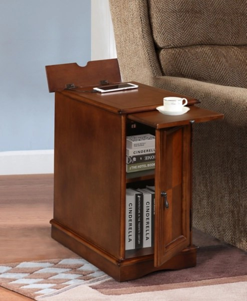 cherry chairside end table with charging station