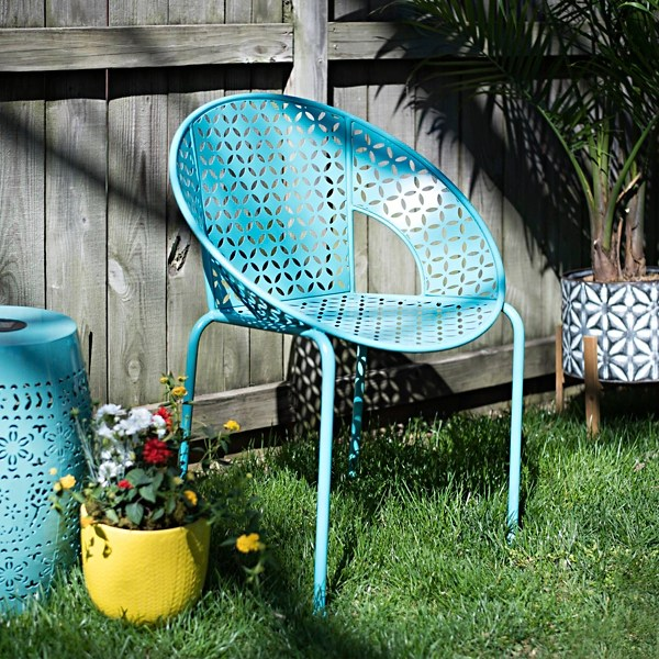 turquoise retro pierced round outdoor chair