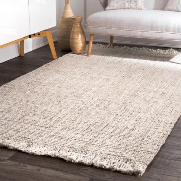 hand woven chunky loop ivory jute area rug 7x9