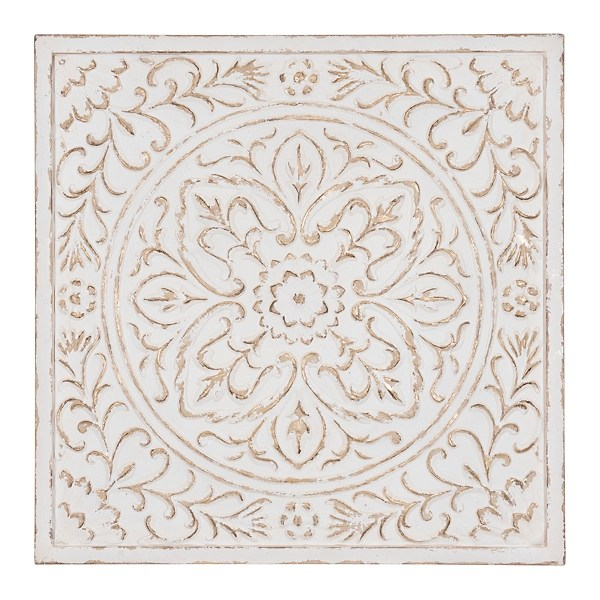 bloomfest white tile gold accented metal plaque