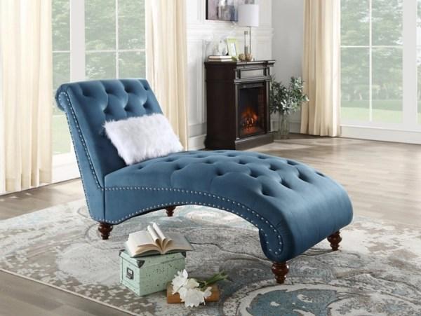 tufted blue velvet chaise lounge