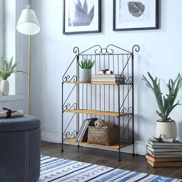 wicker shelves and metal frame baker s rack