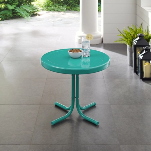turquoise metal outdoor side table