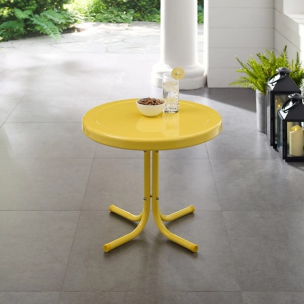 yellow metal outdoor side table