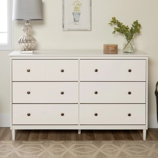 white solid wood 6 drawer dresser