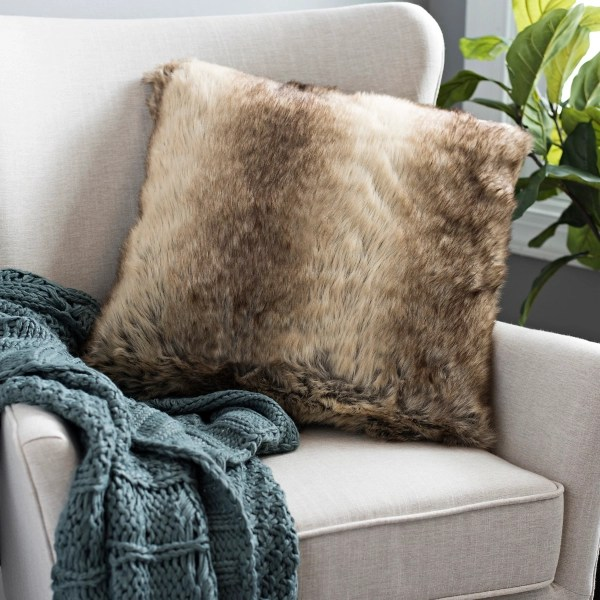 brown faux rabbit fur pillow