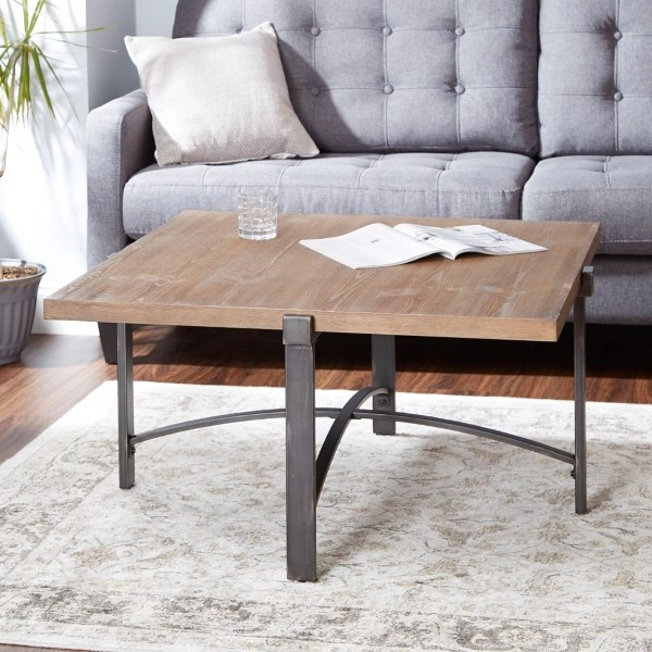 square liam coffee table with metal base