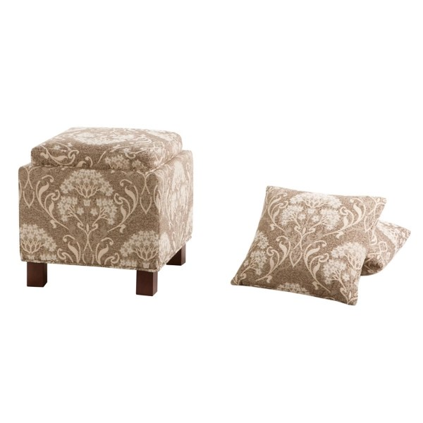 beige and ivory 3 pc ottoman and pillow set