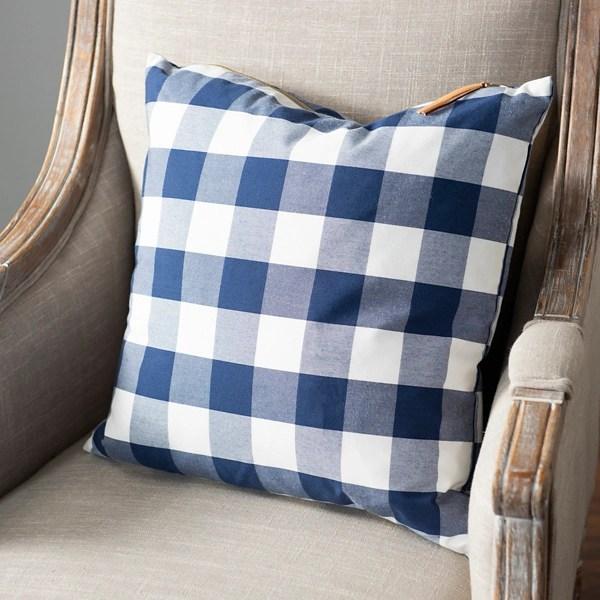 blue buffalo check zippered pillow