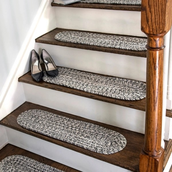 Leah Gray Braided 13 Pc Oval Stair Tread Set Kirklands | Grey Wood Stair Treads | Coloured | Marble | Low Cost | Gray Color | Porcelain