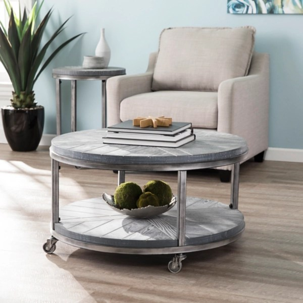 gray round kona rolling coffee table