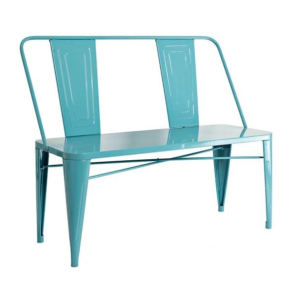 blue metal outdoor bench