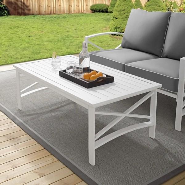 white metal dayton outdoor coffee table