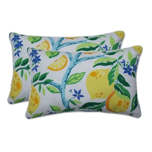 lemon vine outdoor lumbar pillows set of 2