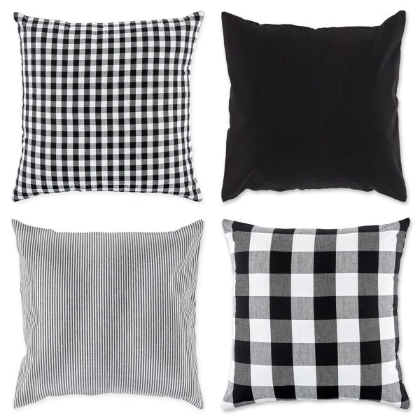 black and white check pillow covers set of 4