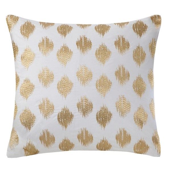 metallic gold and white ikat accent pillow